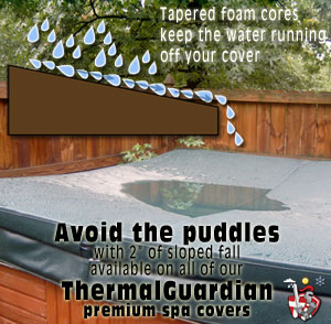 "Thermal Guardian hot tub covers have 3"" of fall for rainwater run-off"