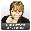 Live Support available M-F 9a-5p EST